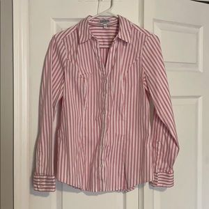 Express fitted essentials shirt in pink & white